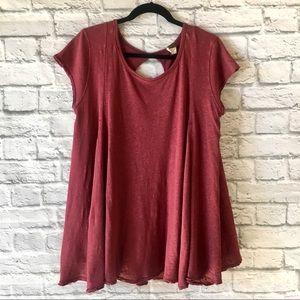Free People Flowy Pink Short Sleeve Tunic T-shirt